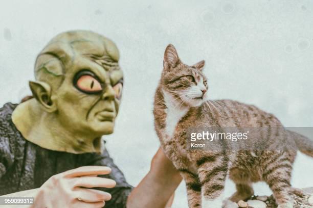Alien with cat