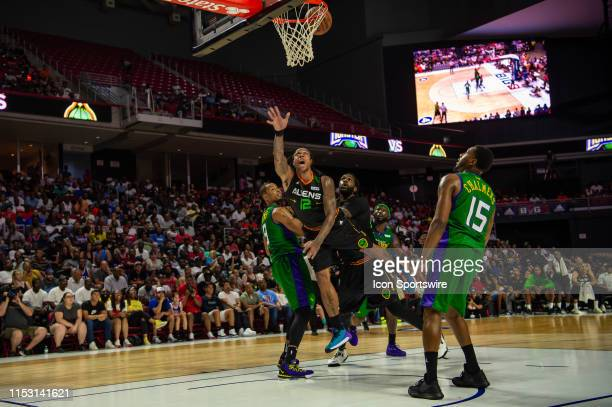 Aliens player Shannon Brown drives to the basket during the second half of the BIG3 basketball game between the 3 Headed Monsters and Aliens on June...