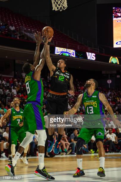 Aliens player Shannon Brown shoots the ball during the second half of the BIG3 basketball game between the 3 Headed Monsters and Aliens on June 30,...