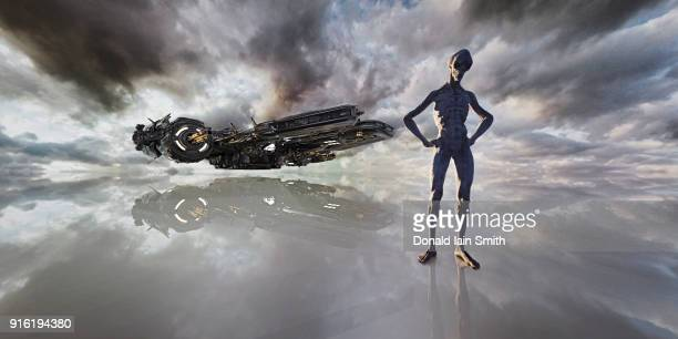 aliens standing in clouds near spaceship - alien stock photos and pictures