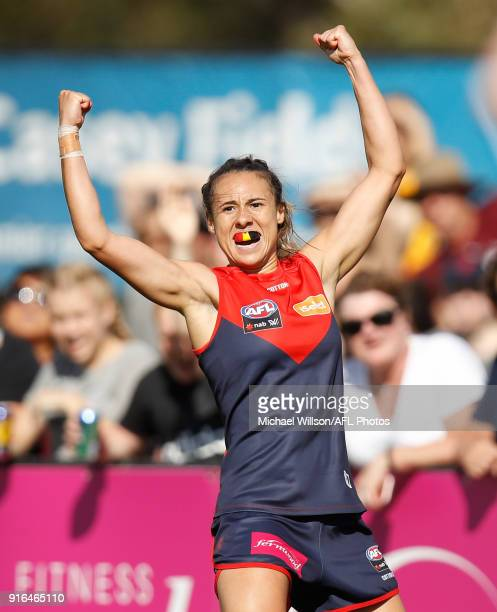 Aliesha Newman of the Demons celebrates a goal during the 2018 AFLW Round 02 match between the Melbourne Demons and the Adelaide Crows at Casey...