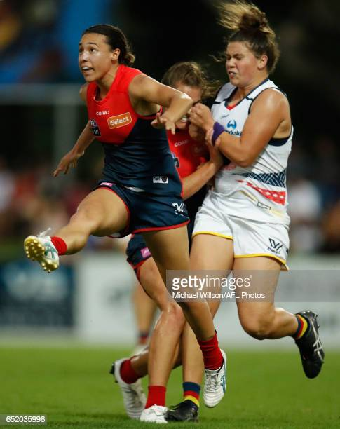 Aliesha Newman of the Demons kicks the ball during the 2017 AFLW Round 06 match between the Adelaide Crows and the Melbourne Demons at TIO Stadium on...