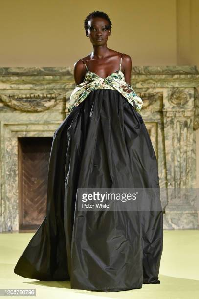 Aliet Sarah walks the runway for the Vera Wang fashion show during February 2020 - New York Fashion Week on February 11, 2020 in New York City.