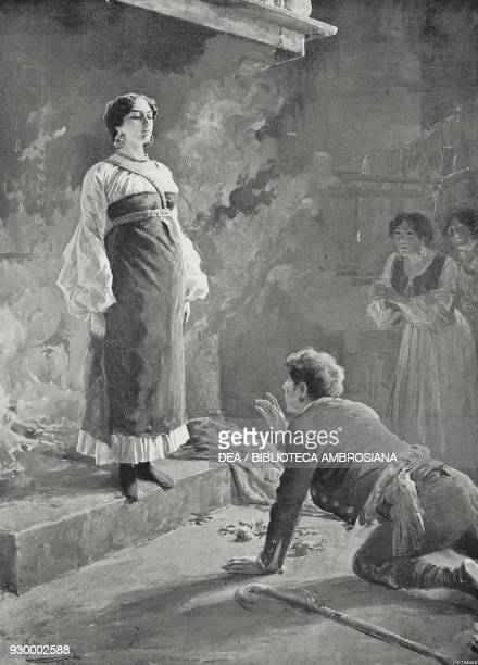 Aligi asking Mila di Codra for forgiveness scene V Act I from The daughter of Iorio tragedy by Gabriele d'Annunzio drawing by Fortunino Matania from...