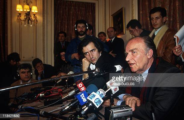 Alija Izetbegovic In Visit Paris On January 09th 1993