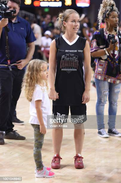 Alijah Baskett and Kendra Wilkinson attend Monster Energy Outbreak Presents $50K Charity Challenge Celebrity Basketball Game at UCLA's Pauley...