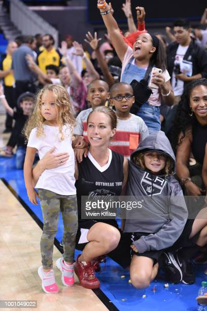 Alijah Baskett Kendra Wilkinson and Hank Baskett IV attend Monster Energy Outbreak Presents $50K Charity Challenge Celebrity Basketball Game at...