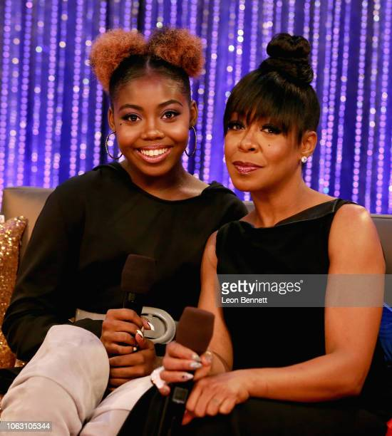 Alijah Kai Haggins and Tichina Arnold attend the Post Show for the 2018 Soul Train Awards presented by BET at the Orleans Arena on November 17 2018...