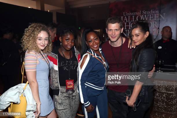 Alijah Kai Haggins Tichina Arnold Joseph Morgan and Persia White attend Halloween Horror Nights at Universal Studios Hollywood on September 12 2019...