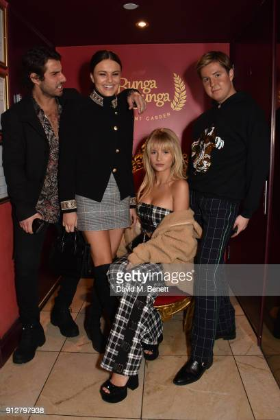 Alik Alfus Emily Blackwell Lottie Moss and Valentine Sozbilir attend Bunga Bunga Covent Garden's 1st birthday party on January 31 2018 in London...
