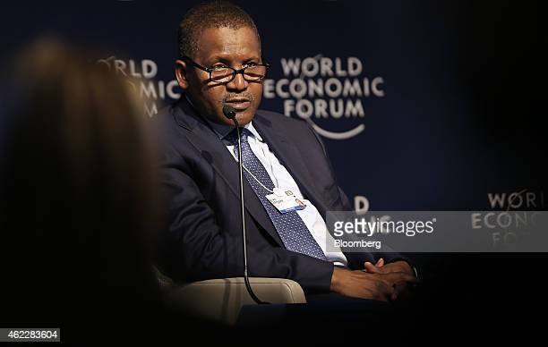 Aliko Dangote billionaire and chief executive officer of Dangote Group speaks during a session on day two of the World Economic Forum in Davos...