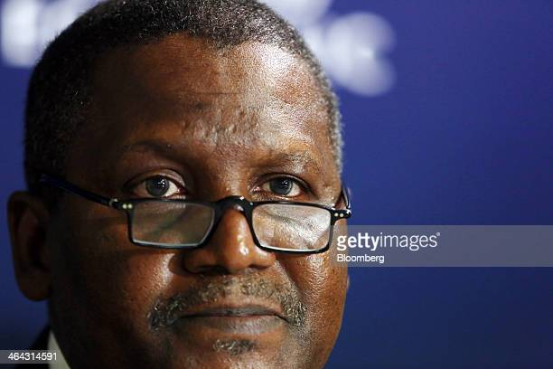 Aliko Dangote billionaire and chief executive officer of Dangote Group pauses during a session on the opening day of the World Economic Forum in...