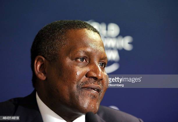 Aliko Dangote billionaire and chief executive officer of Dangote Group speaks during a session on the opening day of the World Economic Forum in...
