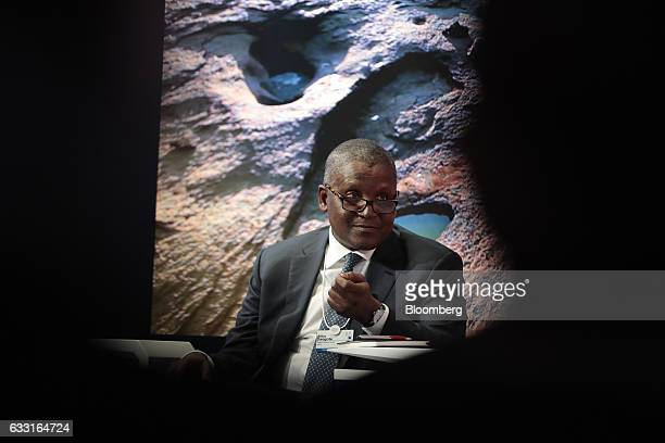 Aliko Dangote billionaire and chief executive officer of Dangote Group speaks during a panel session at the World Economic Forum in Davos Switzerland...
