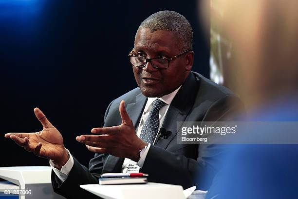 Aliko Dangote billionaire and chief executive officer of Dangote Group gestures as he speaks during a panel session at the World Economic Forum in...