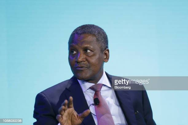 Aliko Dangote president and chief executive officer of Dangote Group speaks during a panel discussion at the Bloomberg New Economy Forum in Singapore...