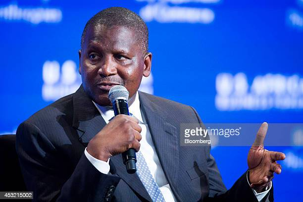 Aliko Dangote president and chief executive officer of Dangote Group and Africa's wealthiest man speaks at the USAfrica Business Forum in Washington...