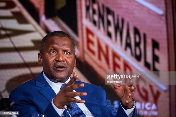 Aliko Dangote president and chief executive officer of Dangote Sugar Refinery Plc speaks during the US Africa Business Forum in New York US on...