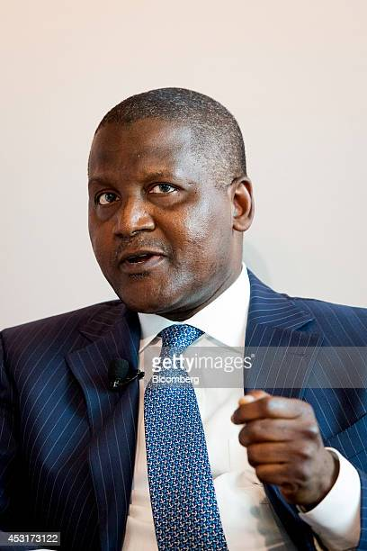 Aliko Dangote president of Dangote Group speaks during a forum on African energy and innovation at the Newseum in Washington DC US on Monday Aug 4...