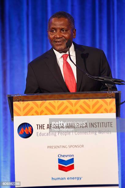 Aliko Dangote speaks on stage at the AfricaAmerica Institute's 2016 Annual Awards Gala at Cipriani 25 Broadway on September 20 2016 in New York City