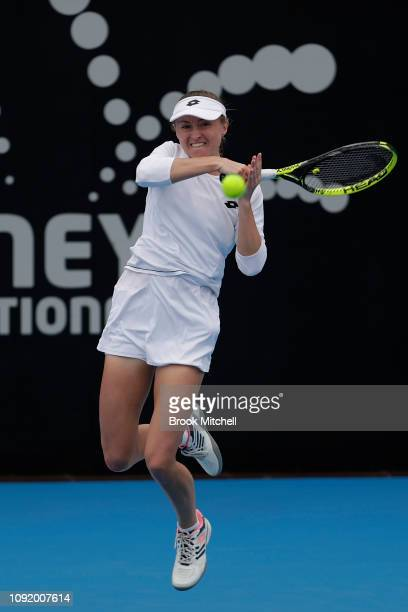 Aliksandra Sasnovich of Belarus hits a forehand during day five of the 2019 Sydney International at the Sydney Olympic Tennis Centre on January 10...