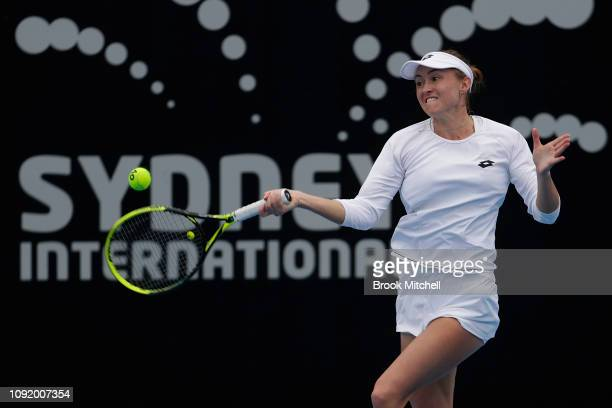 Aliksandra Sasnovich of Belarus hits a forehand during her day five match against Timea Bacsinszky of Switzerland during the 2019 Sydney...