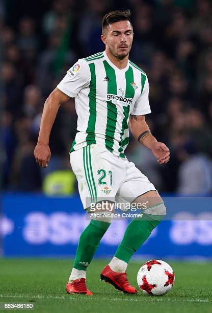 Alin Tosca of Real Betis Balompie in action during the Copa del Rey Round of 32 Second Leg match between Real Betis Balompie and Cadiz CF at Estadio...