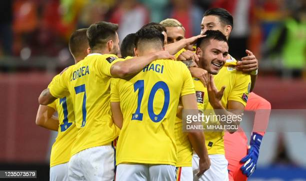 Alin Tosca of Romania celebrates after he scored 1-0 against Liechtenstein during the FIFA World Cup Qatar 2022 qualification Group J football match...