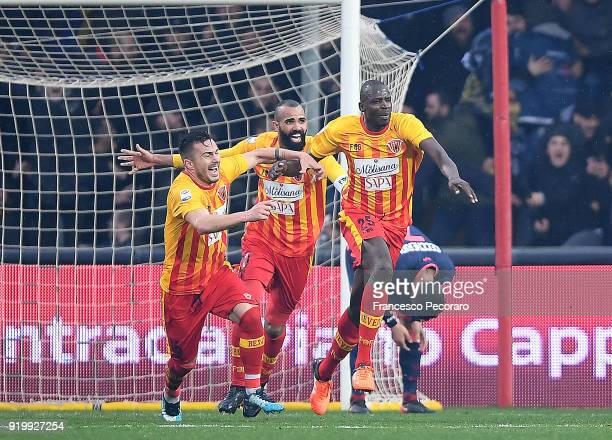Alin Tosca Sandro and Cheick Diabatè of Benevento Calcio celebrate the 32 goal scored by Cheick Diabatè during the serie A match between Benevento...