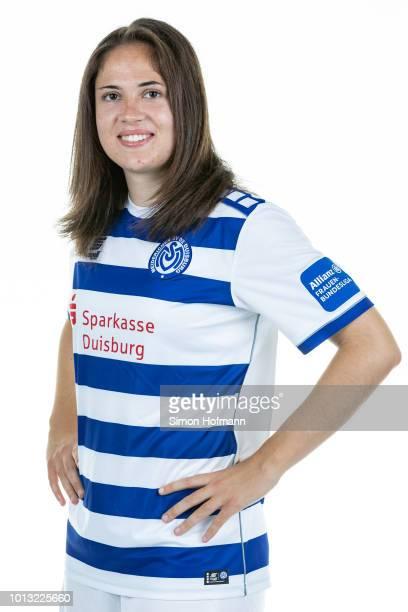 Alina Angerer of MSV Duisburg poses during the Allianz Frauen Bundesliga Team Presentation on August 6 2018 in Duisburg Germany