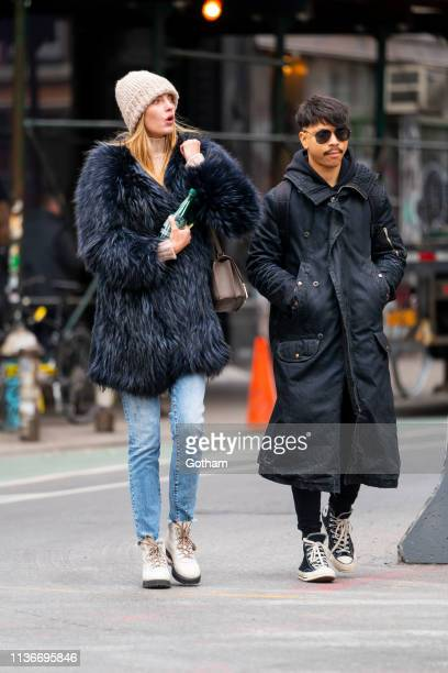 Alina Baikova and George Perez are seen in NoHo on March 18 2019 in New York City