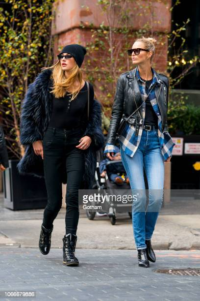 Alina Baikova and Michaela Kocianova are seen in SoHo on November 12 2018 in New York City