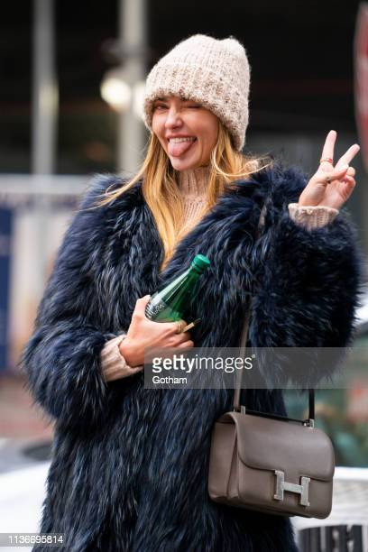 Alina Baikova is seen in NoHo on March 18 2019 in New York City