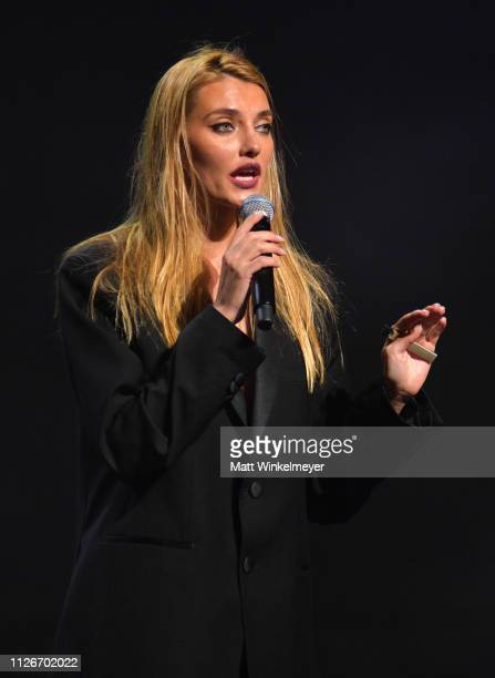Alina Baikova speaks onstage at the UCLA IoES honors Barbra Streisand and Gisele Bundchen at the 2019 Hollywood for Science Gala on February 21 2019...
