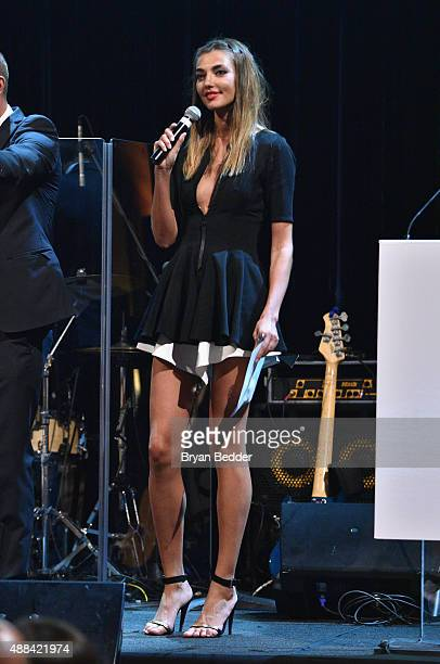 Alina Baikova speaks onstage at the Unitas gala against Sex Trafficking at Capitale on September 15 2015 in New York City