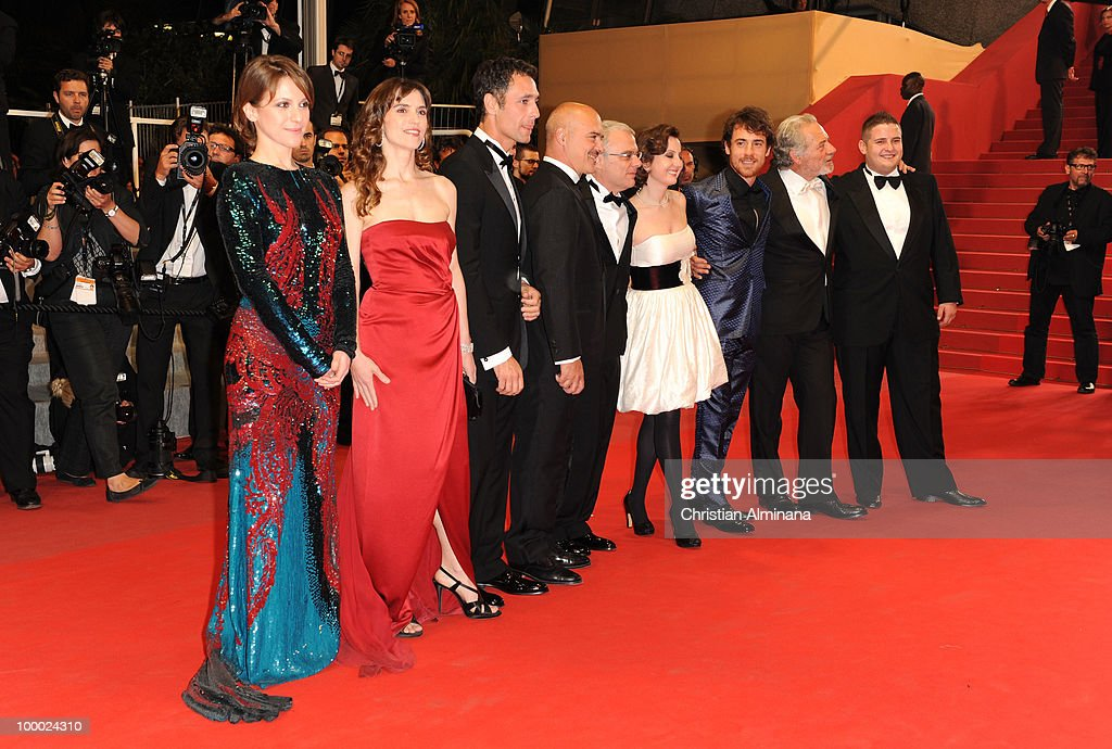 Alina Berzenteanu, Stefania Montorsi, Raoul Bova, Luca Zingaretti, director Daniele Luchetti, Isabella Ragonese, Elio Germano and Marius Ignat attend the 'Our Life' Premiere held at the Palais des Festivals during the 63rd Annual International Cannes Film Festival on May 20, 2010 in Cannes, France.