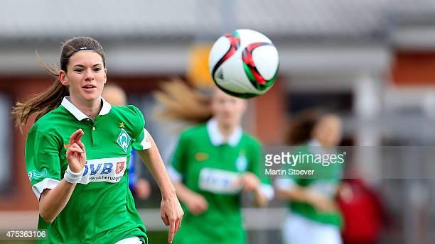 Alina Botzum of Bremen plays the ball during the U17 Girl's Bundesliga semi final first leg match between SV Werder Bremen and Turbine Potsdam at...