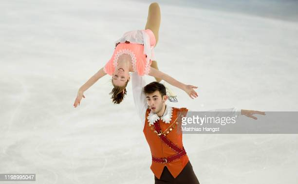 Alina Butaeva and Luka Berulava of Georgia competes in Pair Skating Free Skating during day 3 of the Lausanne 2020 Winter Youth Olympics on January...