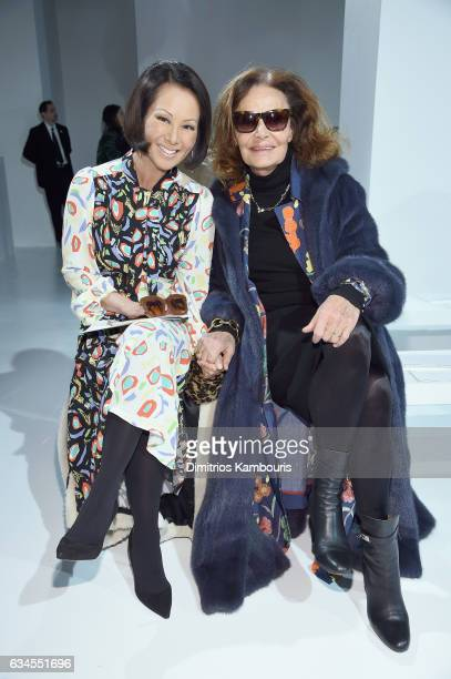 Alina Cho and Diane von Furstenberg attend the Calvin Klein Collection Front Row during New York Fashion Week on February 10 2017 in New York City