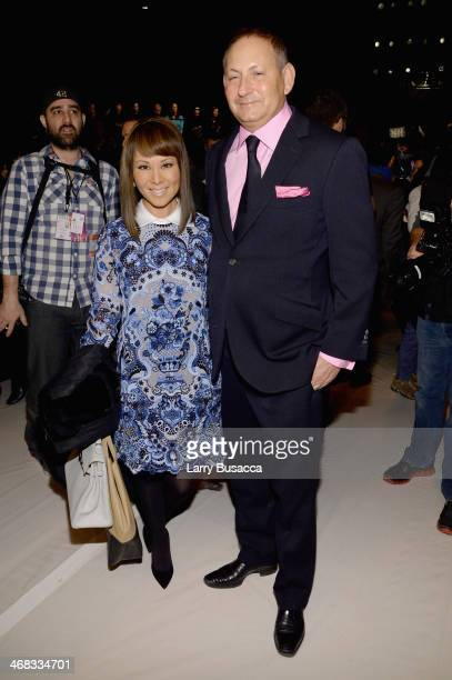 Alina Cho and John Demsey attend the Carolina Herrera fashion show during MercedesBenz Fashion Week Fall 2014 at The Theatre at Lincoln Center on...
