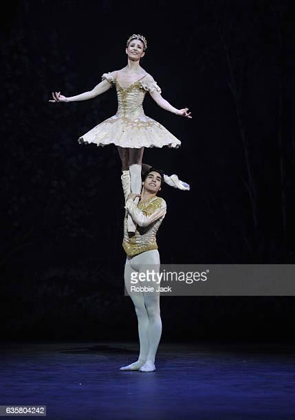Alina Cojocaru as Clara and Cesar Corrales as Nutcracker in English National Ballet's production of Wayne Eagling's The Nutcracker at The London...