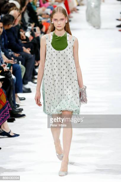 Alina Egorova walks the runway during the Valentino show as part of the Paris Fashion Week Womenswear Spring/Summer 2018 on October 1 2017 in Paris...
