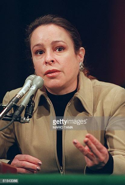 Alina Fernandez daughter of Cuban President Fidel Castro testifies before the Senate Judiciary Committee hearing on Cuba's government 01 March 2000...