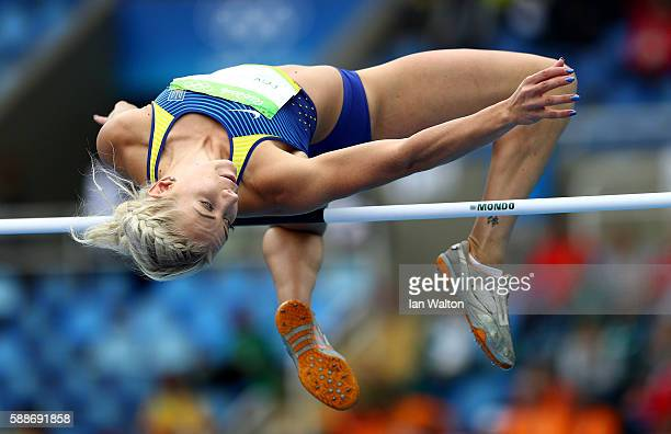 Alina Fodorova of Ukraine competes during the Women's Heptathlon High Jump on Day 7 of the Rio 2016 Olympic Games at the Olympic Stadium on August 12...