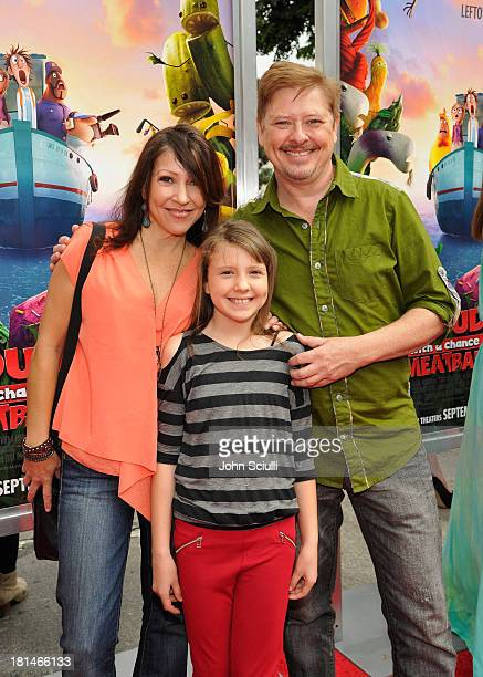 Alina Foley Chrissy Guerrero and actor Dave Foley attend Premiere of 'Cloudy With A Chance Of Meatballs 2' presented by Sony Pictures Animation at...
