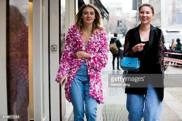 Alina Gelzina and Angelica Ardasheva outside the Marco de Vincenzo show during the Milan Fashion Week Fall/Winter 2016/17 on February 26 2016 in...