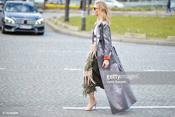 Alina Gelzina poses after the Celine show at the Tennis Club de Paris show during Paris Fashion Week FW 16/17 on March 6 2016 in Paris France