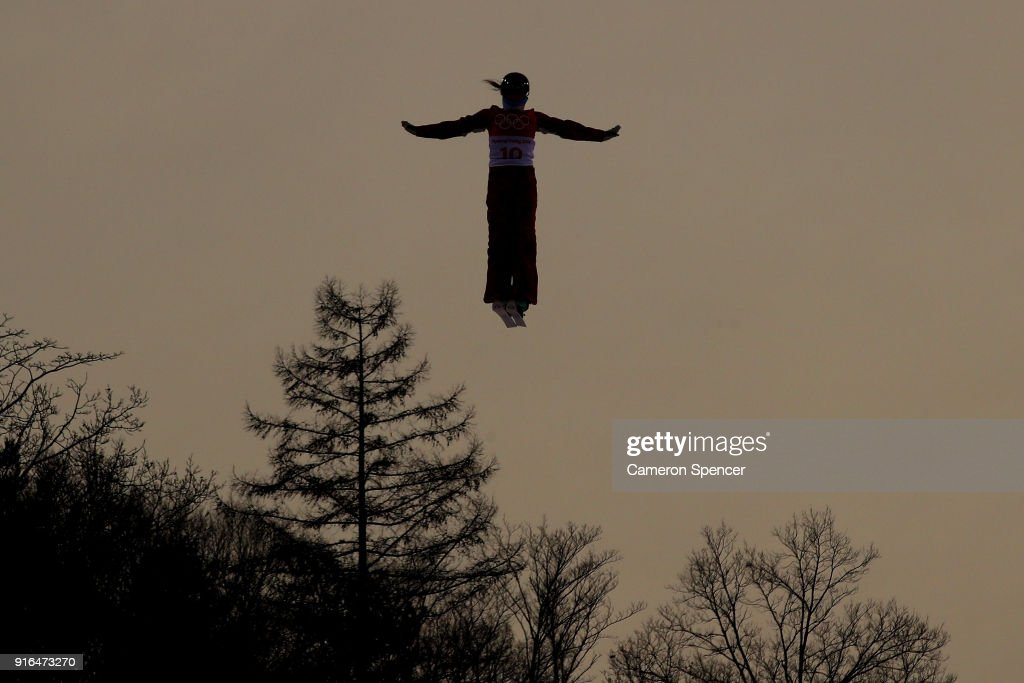 Alina Gridneva of Olympic Athletes from Russia performs an aerial during Freestyle Skiing Ladies' Aerials training on day one of the PyeongChang 2018 Winter Olympic Games at Phoenix Snow Park on February 10, 2018 in Pyeongchang-gun, South Korea.