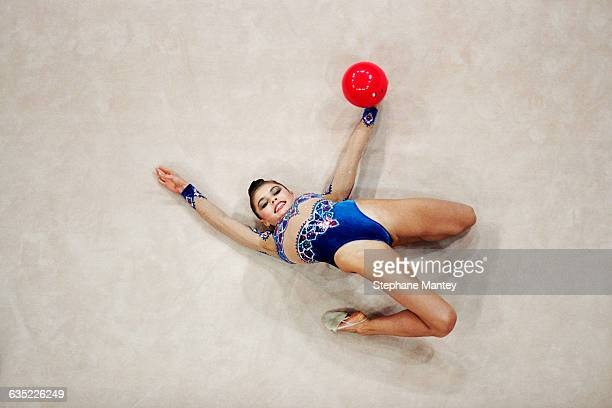 Alina Kabaeva from Russia performs with ball at the 2000 Olympics.