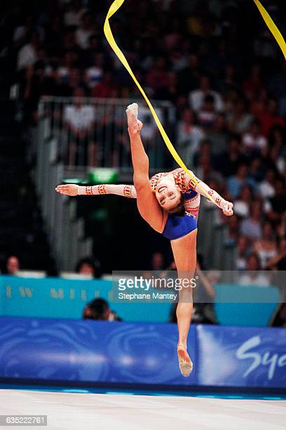 Alina Kabaeva from Russia performs with ribbon at the 2000 Olympics.
